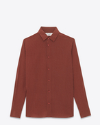 SAINT LAURENT Casual Shirts U SIGNATURE YVES COLLAR SHIRT IN Bordeaux and Ivory Polka Dot Printed Silk crepe f
