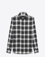 SIGNATURE YVES COLLAR SHIRT IN Black and Grey Plaid Cupro and Wool
