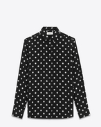 SIGNATURE YVES COLLAR SHIRT IN Black and White Vintage Polka Dot Printed Silk Crêpe