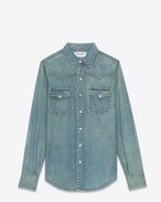 SAINT LAURENT CAMICIA Classic WESTERN U YSL 70s Western Shirt in Medium Old Blue Denim f