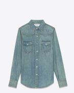 SAINT LAURENT Klassisches Westernhemd U YSL Westernhemd im 70er-Look aus mittelblauem Denim im Old-Look f