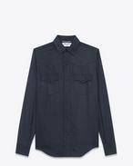 YSL 70s Western Shirt in Navy Blue Twill