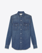 SAINT LAURENT Western Shirts D Western Stitched Pocket Shirt in Dirty Blue Cotton and Linen f