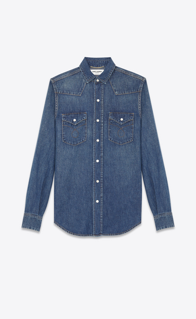 Western Stitched Pocket Shirt in Dirty Blue Cotton and Linen