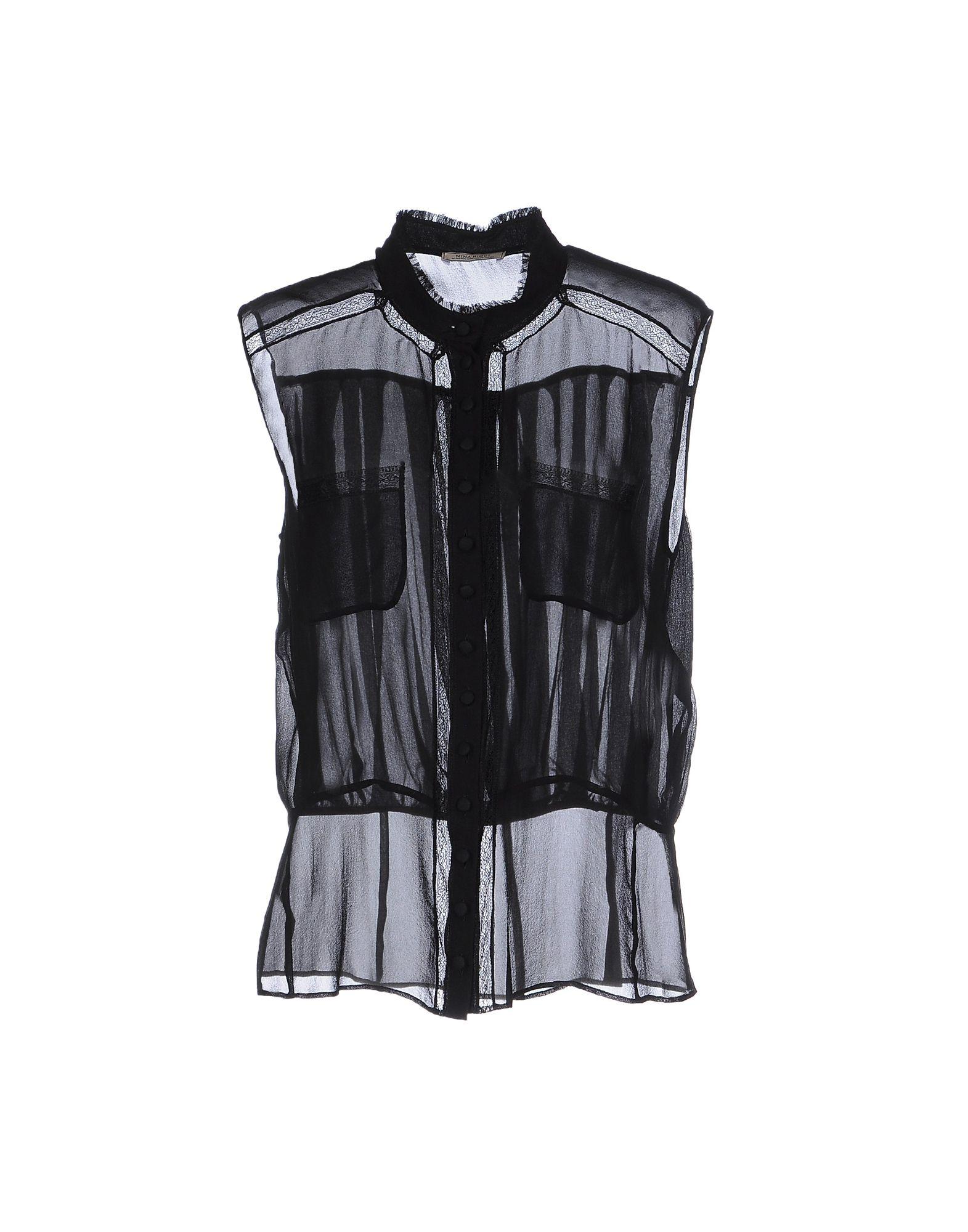《送料無料》NINA RICCI レディース シャツ ブラック 42 シルク 100%
