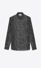Saint Laurent Signature Yves Collar Shirt In Black And