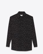 PARIS collar oversized shirt in Black and Shell Polka Dot Printed Silk