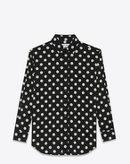 SAINT LAURENT Classic Shirts D Signature YVES Collar Oversized Shirt in Black and White Polka Dot Printed Cotton and Viscose f