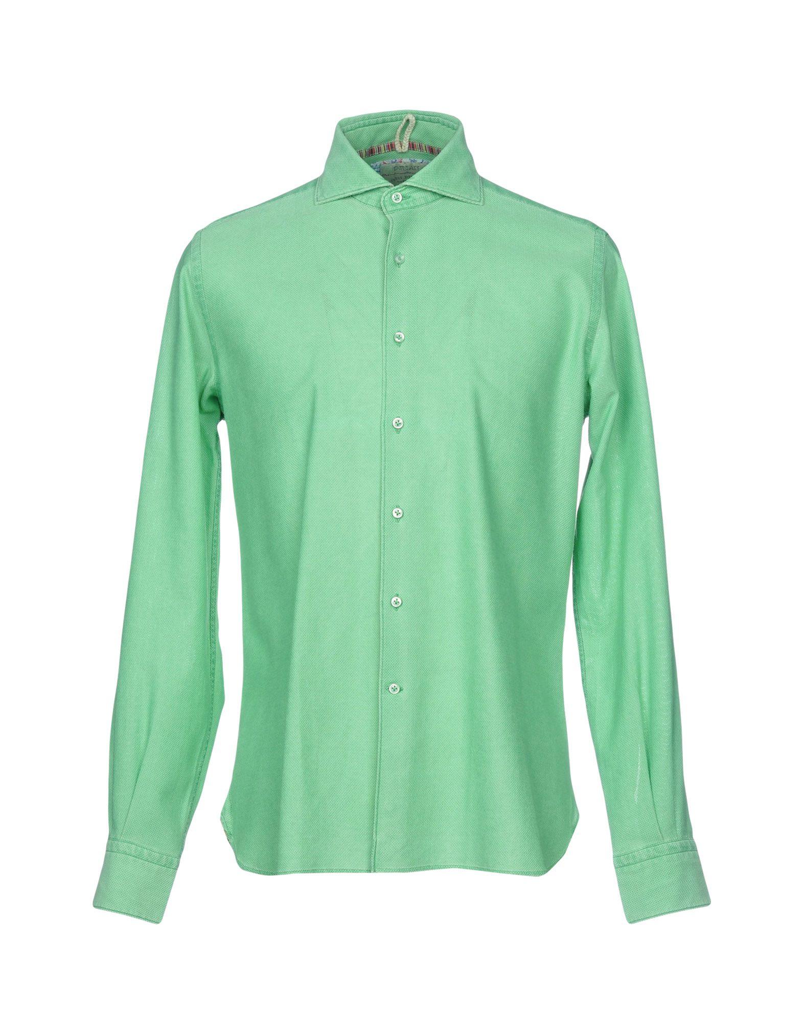 《送料無料》ORIAN メンズ シャツ ライトグリーン 40 コットン 100%