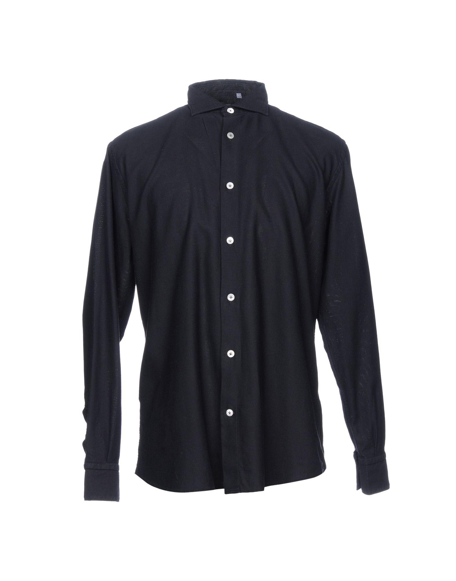 《送料無料》ELEVENTY メンズ シャツ ダークブルー 45 コットン 100%