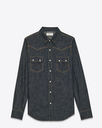 SAINT LAURENT Western Shirts U YSL NASHVILLE Shirt in Blue Rinse Denim f