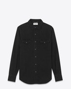 Classic Western Shirt in Used Black Denim