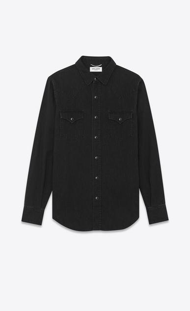 SAINT LAURENT Western Shirts U Classic Western Shirt in Used Black Denim a_V4