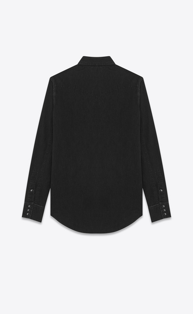 SAINT LAURENT Western Shirts U Classic Western Shirt in Used Black Denim b_V4