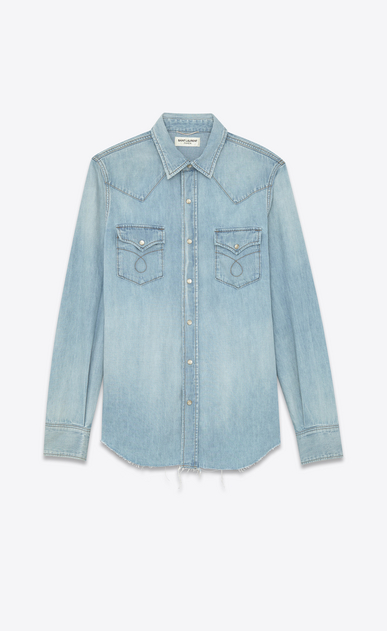 SAINT LAURENT Western Shirts U Classic Western Shirt in Light Stone Blue Cotton and Linen a_V4