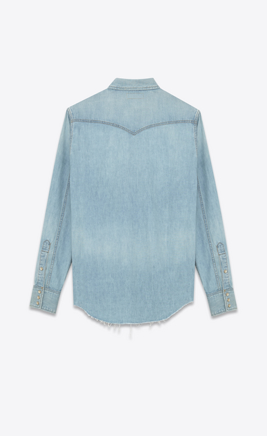 SAINT LAURENT Western Shirts U Classic Western Shirt in Light Stone Blue Cotton and Linen b_V4