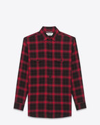 SAINT LAURENT Casual Shirts U Shirt in Black and Red Tartan Plaid Cotton and Elastane f