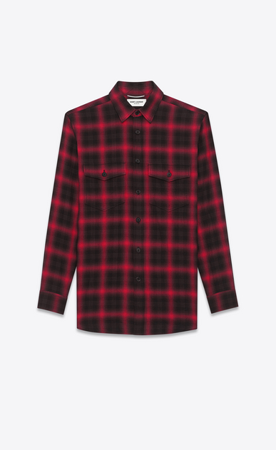 SAINT LAURENT Casual Shirts U Shirt in Black and Red Tartan Plaid Cotton and Elastane a_V4