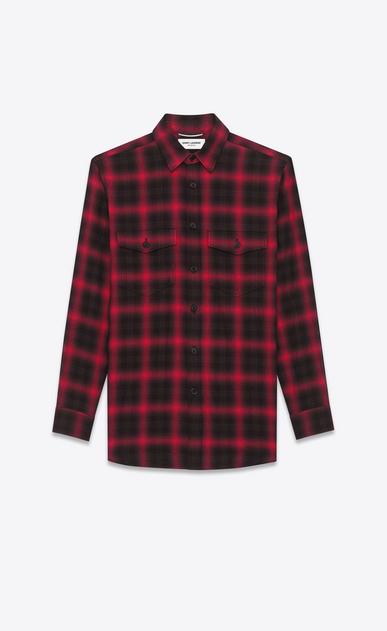 SAINT LAURENT Casual Shirts U Shirt in Black and Red Tartan Plaid Cotton and Elastane a_V4