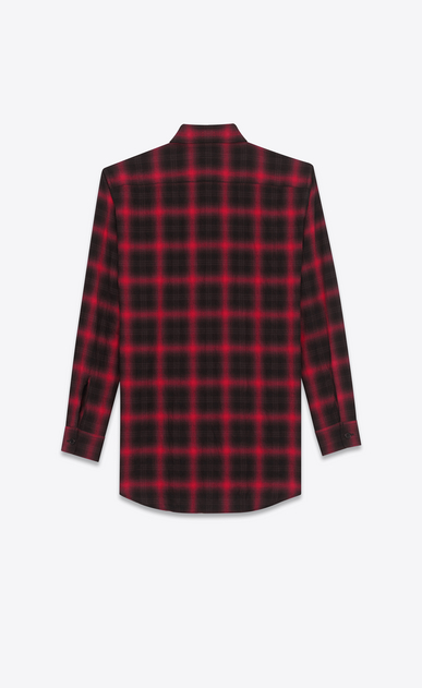 SAINT LAURENT Casual Shirts U Shirt in Black and Red Tartan Plaid Cotton and Elastane b_V4