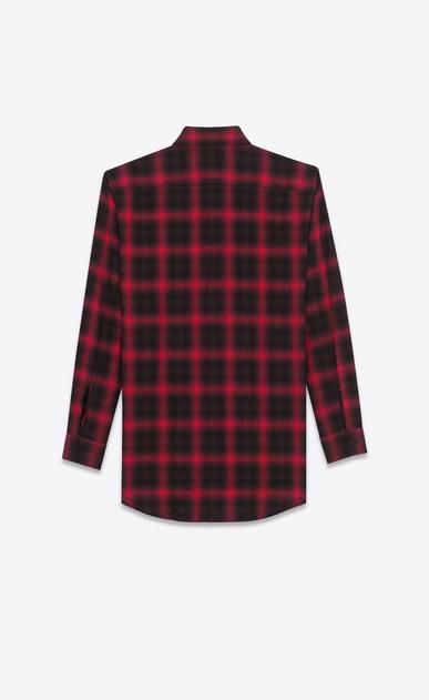 SAINT LAURENT Casual Shirts U Shirt in Black and Red Tartan Plaid Cotton and Elastane b_V4