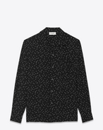 Signature Shark Collar Oversized Shirt in Black and Shell Pen Dot Viscose