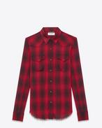 Western Shirt in Raw Bordeaux Viscose Madras