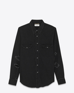 SAINT LAURENT Western Shirts U Western Distressed Shirt in Vintage Black 70's Trash Denim f