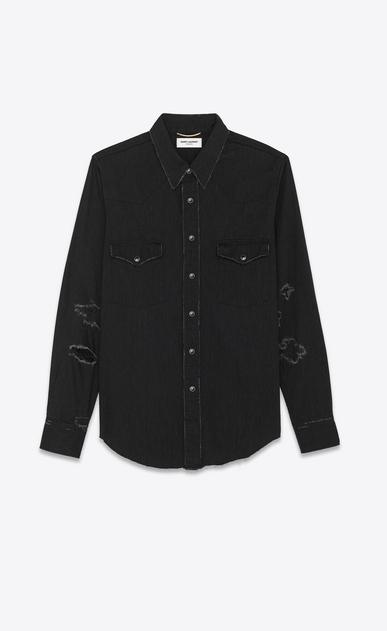 SAINT LAURENT Western Shirts U Western Distressed Shirt in Vintage Black 70's Trash Denim a_V4