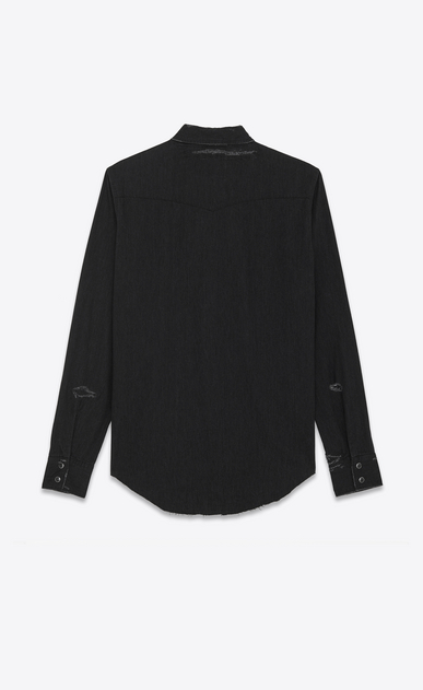 SAINT LAURENT Western Shirts U Western Distressed Shirt in Vintage Black 70's Trash Denim b_V4