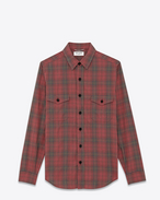 SAINT LAURENT Casual Shirts U Shirt in Red, Black and Yellow Plaid Cotton Flannel f