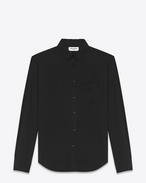 Signature YVES Collar Oversized Shirt in Black Cotton Poplin