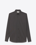 SAINT LAURENT Casual Shirts U Signature YVES Collar Shirt in Black and Shell Star Printed Cotton Poplin f
