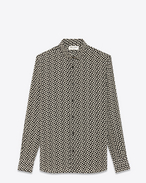 SAINT LAURENT Camicie Casual U Camicia signature DYLAN con collo nera e color conchiglia in crêpe di seta con stampa a pois f