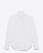 Signature YVES Collar Oversized Shirt in White Cotton Poplin