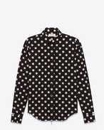 Signature YVES Collar Oversized Shirt in Black and White Polka Dot Printed Cotton and Rayon