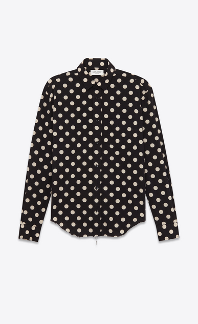 SAINT LAURENT Casual Shirts U Signature YVES Collar Oversized Shirt in Black and White Polka Dot Printed Cotton and Rayon a_V4