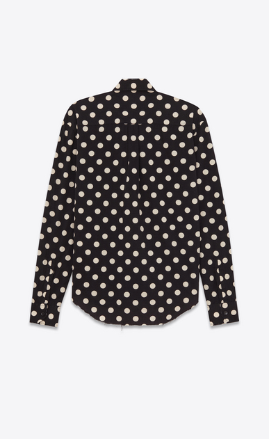 SAINT LAURENT Casual Shirts U Signature YVES Collar Oversized Shirt in Black and White Polka Dot Printed Cotton and Rayon b_V4