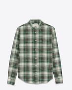 Signature YVES Collar Oversized Shirt in White, Grey and Green Bleached Cotton Plaid