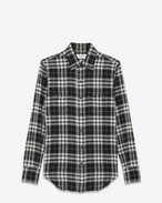 SAINT LAURENT Western Shirts D YSL Nashville Shirt in Black and White Plaid Cotton f