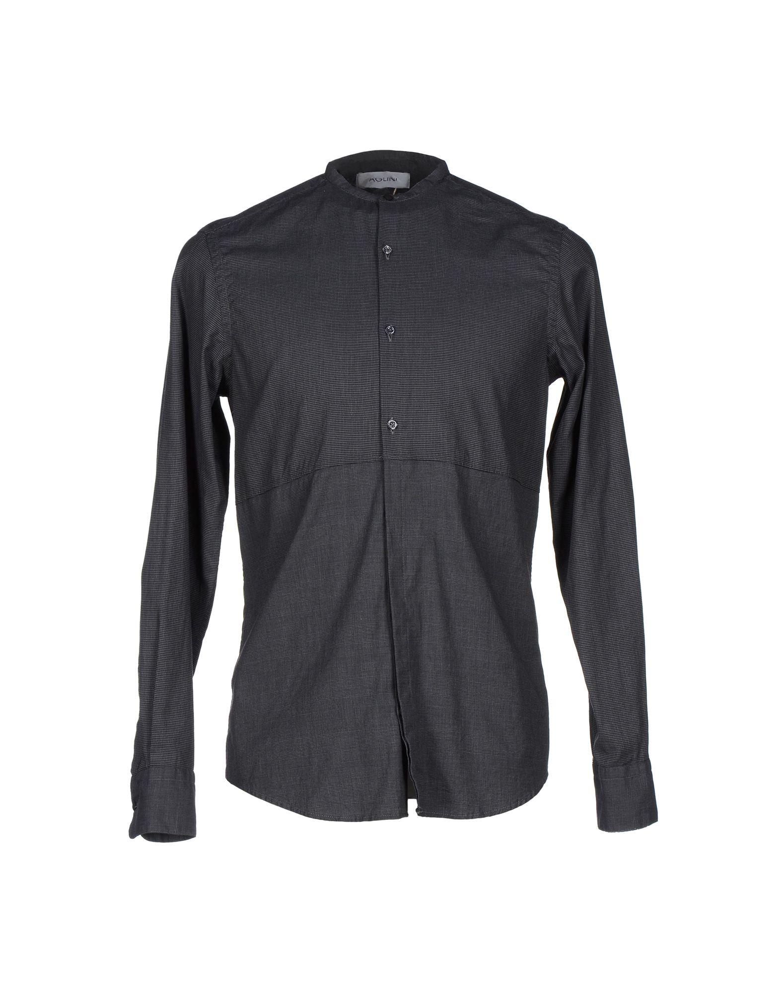 AGLINI Patterned Shirt in Steel Grey