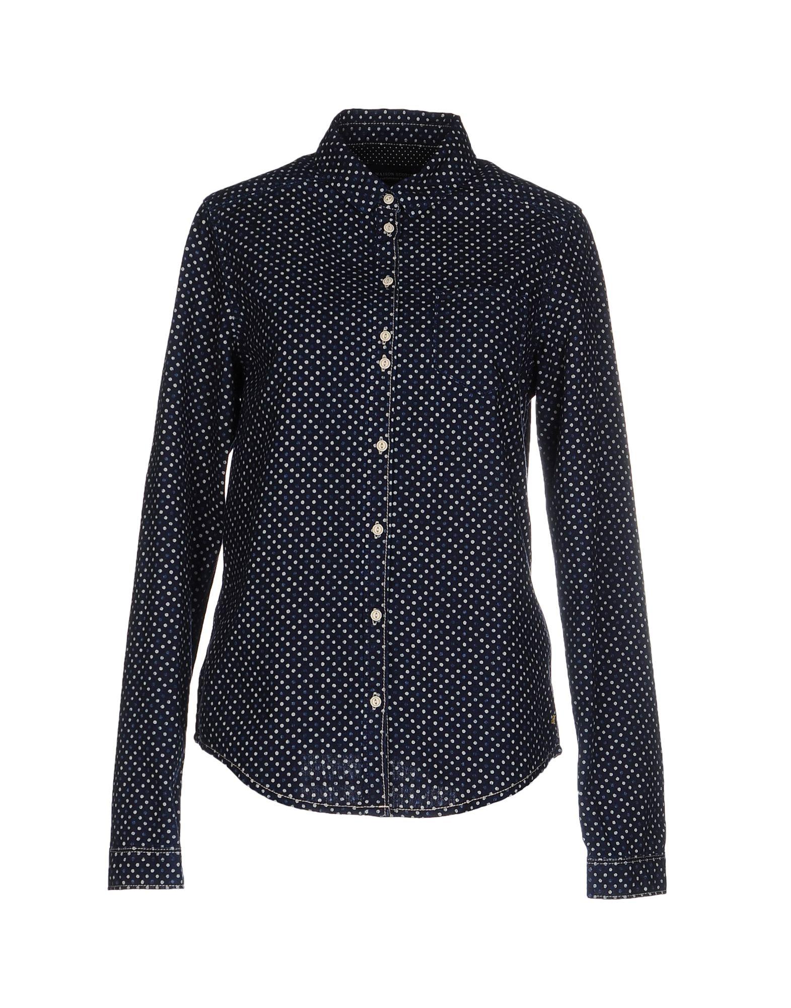 MAISON SCOTCH Джинсовая рубашка рубашка в мелкий горошек