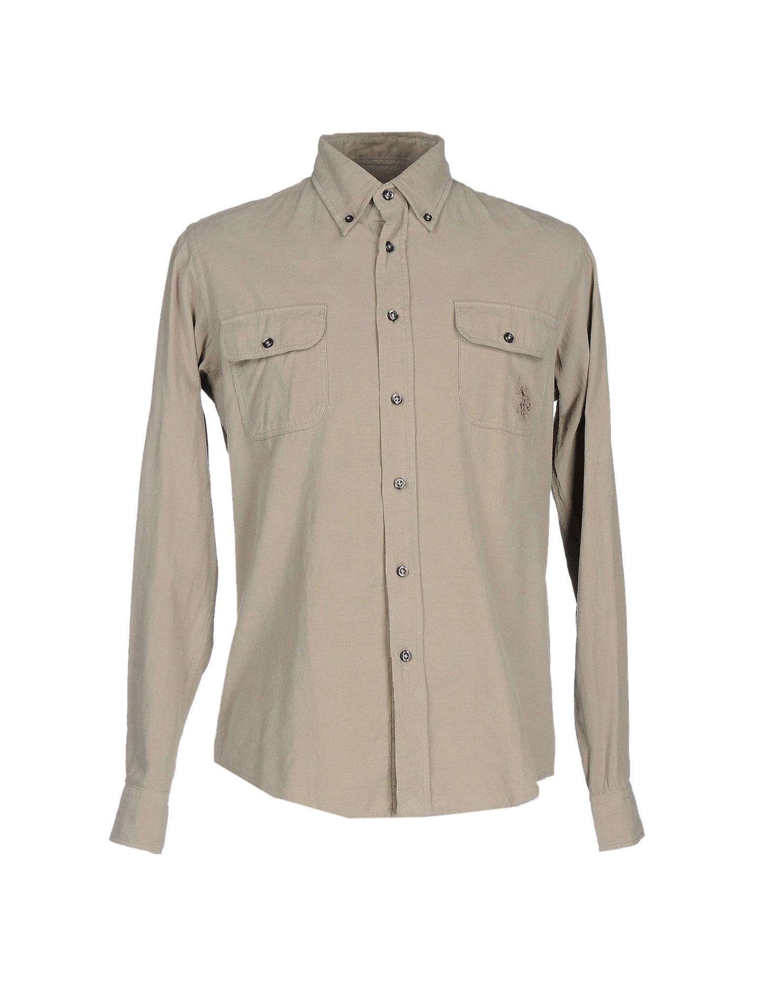 《送料無料》U.S.POLO ASSN. メンズ シャツ グレー S コットン 100%