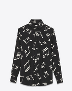 SAINT LAURENT Classic Shirts D PARIS Collar Shirt in Black and Off White Musical Note Printed Viscose Twill f