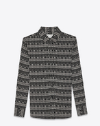 SAINT LAURENT Classic Shirts D paris collar shirt in black and off white skeleton printed viscose f