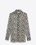 SAINT LAURENT Classic Shirts D oversized shirt in black and off white star printed silk georgette f