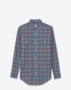 SAINT LAURENT Western Shirts D 70's Collar Western Shirt in Blue and Beige Plaid Cotton f