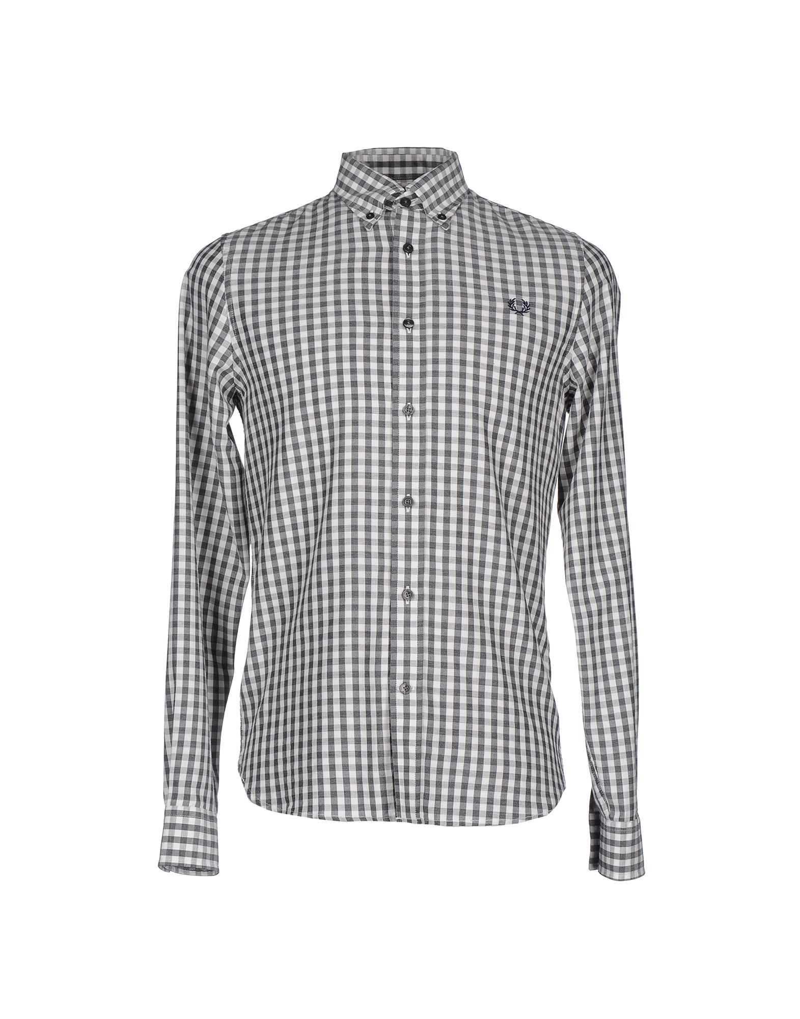 FRED PERRY Pубашка рубашка в клетку fred perry gingham shirt long sleeve black white