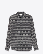 SAINT LAURENT Camicie Casual U Camicia Signature con collo YVES nera e bianco ottico in viscosa con stampa Skeleton f