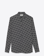 Signature YVES Collar Shirt in Black and Off White Car Printed Viscose